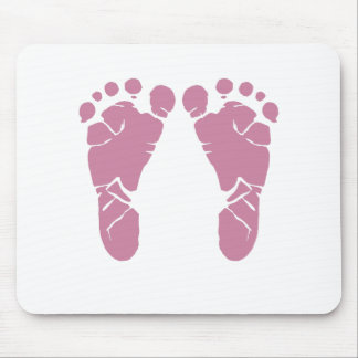 Pink baby footprints mouse pad