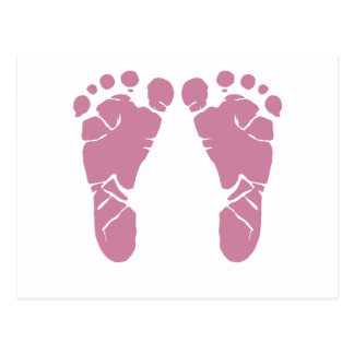 Pink baby footprints post cards