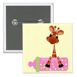 Pink Baby Giraffe Button