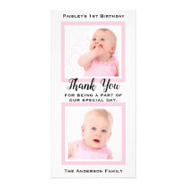 Pink Baby Girl 1st Birthday Thank You Photo Card