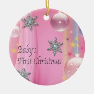 Pink Baby Girl Baby's First Christmas Ornament