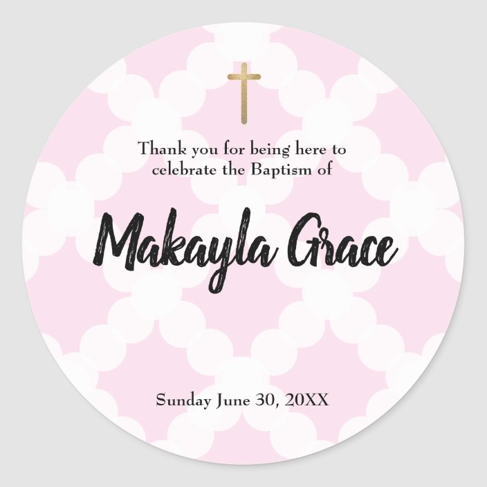 Pink Baby Girl Baptism Christening Thank You Classic Round Sticker Zazzle Com