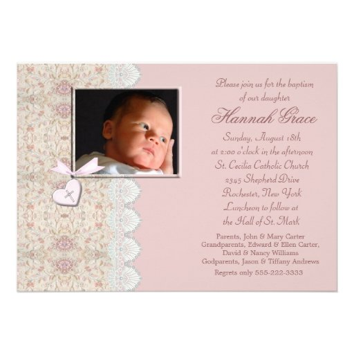 Pink Baby Girl Baptism or Christening Invites