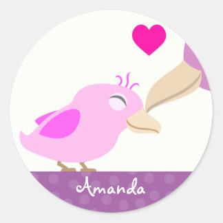 Pink Baby Girl Bird & Mother Classic Round Sticker