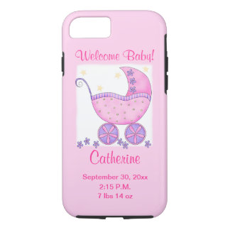 Pink Baby Girl Birth Announcement Cell iPhone 8/7 Case