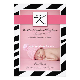 Pink Baby Girl Birth Announcement Zebra Pattern