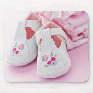 Pink baby girl booties and clothes mouse pad