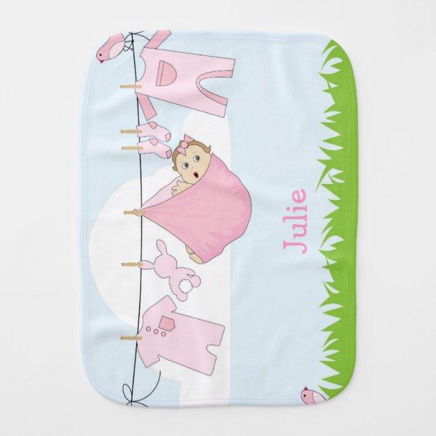 Pink Baby Girl Burp Cloth