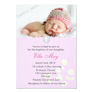 Pink Baby Girl Christening Invitation