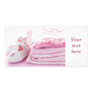 Pink baby girl clothes for baby shower card