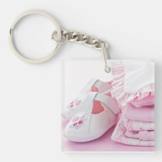 Pink baby girl clothes for baby shower keychain
