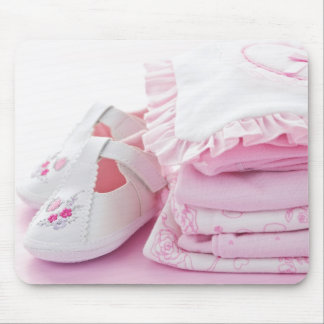 Pink baby girl clothes for baby shower mouse pad