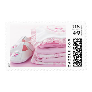 Pink baby girl clothes for baby shower postage stamp