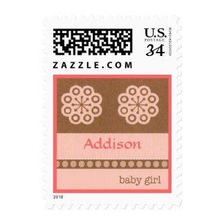 Pink Baby Girl Dots and Flowers Postcard Postage