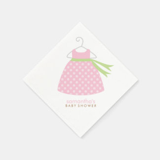 Pink Baby Girl Dress Baby Shower Disposable Napkin