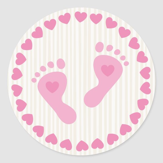 Pink baby girl feet envelope stickers