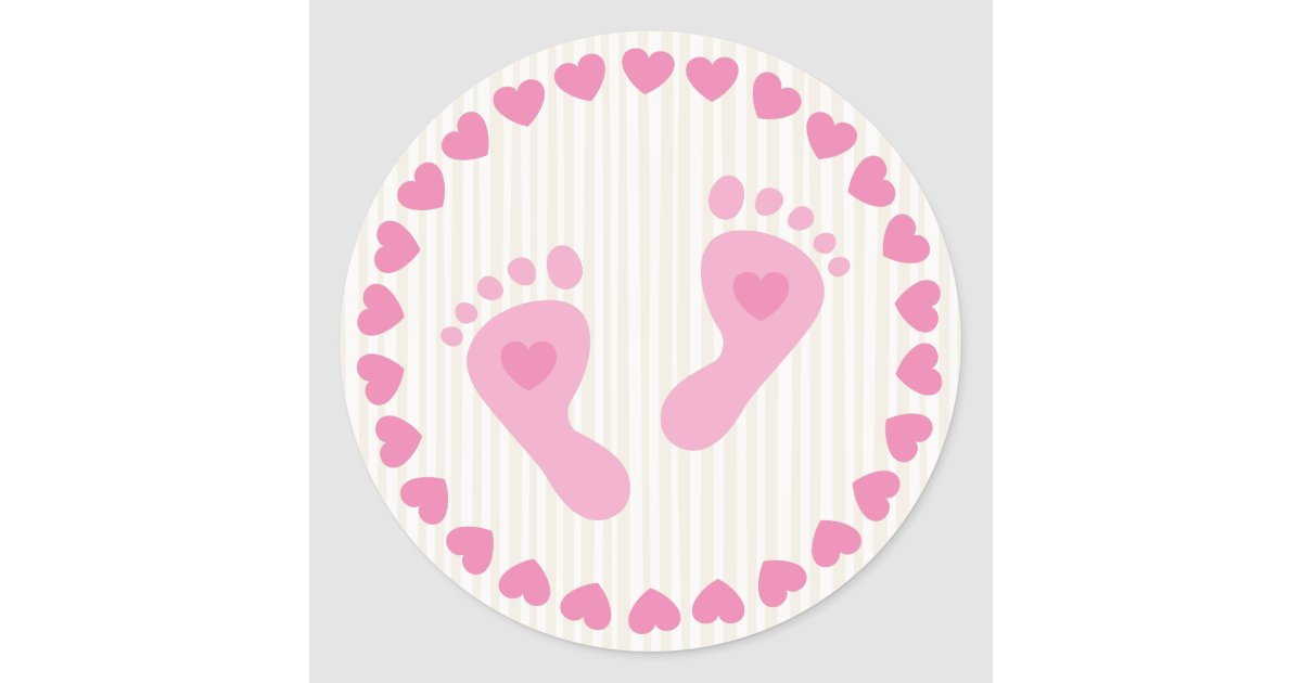 Pink Baby Girl Feet Envelope Stickers Zazzle