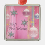 Pink Baby Girl First Christmas Pink First Christma Christmas Ornaments