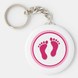 Pink Baby Girl Foot Prints Keychain