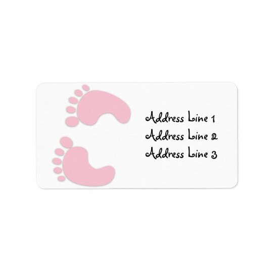 pink baby girl footprints address label zazzle com