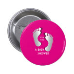 Pink Baby Girl FootPrints Baby Shower Button