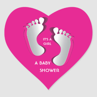 Pink Baby Girl FootPrints Baby Shower Sticker