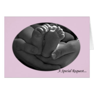 Pink Baby Girl Godparents Request Greeting Card