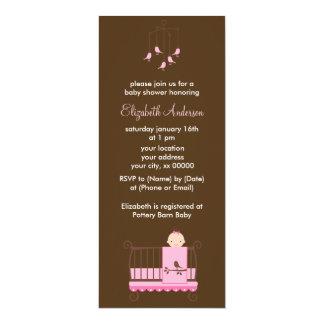 Pink Baby Girl in Crib Girl Baby Shower Card
