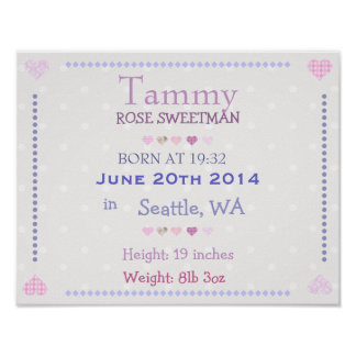 Pink Baby Girl personalized date of birth print