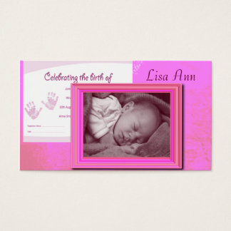 Pink Baby Girl Photo Business Card