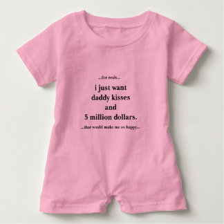 Pink Baby Girl Romper I Just Want Daddy Kisses