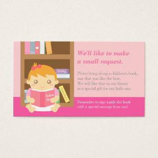 Pink Baby Girl Shower Book Insert Request Card