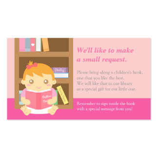 Pink Baby Girl Shower Book Insert Request Card Business Card Template