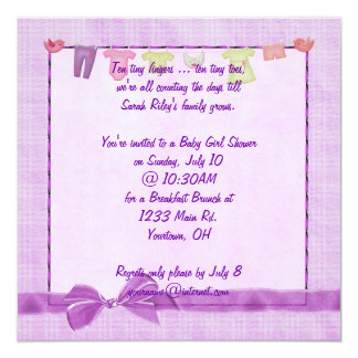 Pink Baby Girl Shower 5.25x5.25 Square Paper Invitation Card