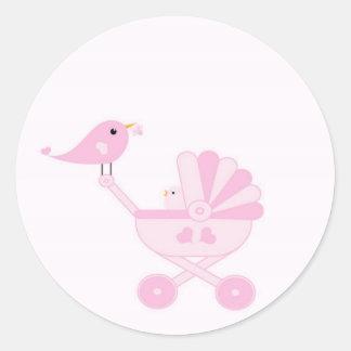 Pink Baby Girl Classic Round Sticker