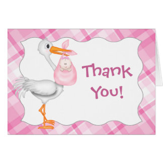 Pink Baby Girl Thank You Card