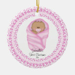 Pink Baby Girls Baby's First Christmas Ornament