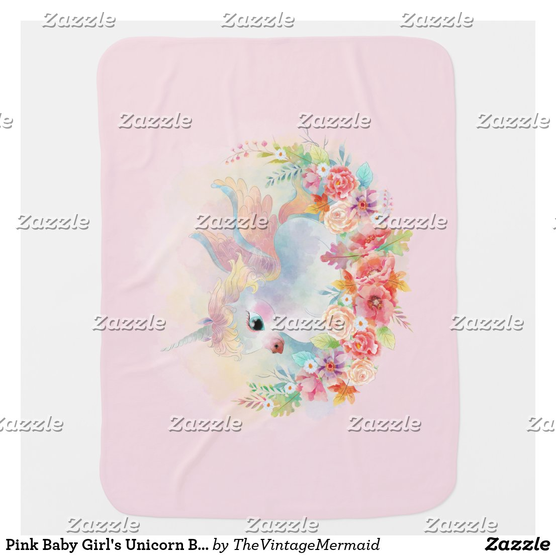 Pink Baby Girl's Unicorn Blanket