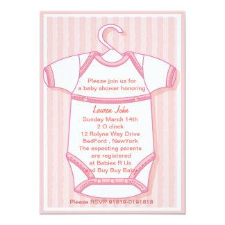 Pink baby gro baby shower invitation