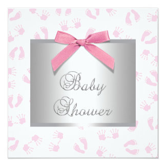 Pink Baby Hands and Footprint Baby Shower 5.25x5.25 Square Paper Invitation Card