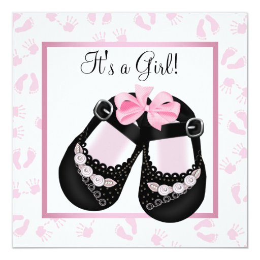 Pink Baby Hands and Footprints Baby Shower Card