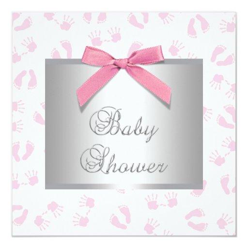 Pink Baby Hands Feet Baby Girl Shower Invitation