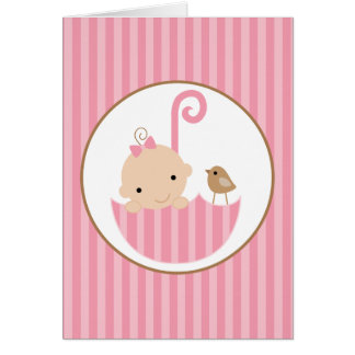 Pink Baby in Umbrella Baby Shower Greeting Card
