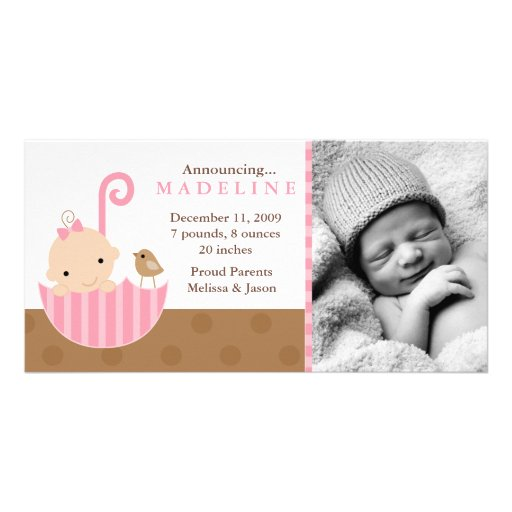 Pink Baby in Umbrella Birth Announcements Photo Card