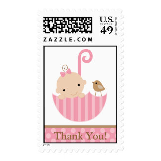 Pink Baby in Umbrella Stamp