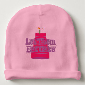 """Pink Baby Infant Hat w/""""Let Them Eat Cake"""""""
