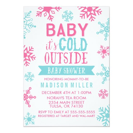 pink baby it 39 s cold outside baby shower 5x7 paper invitation card