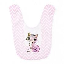 Pink Baby Kitten Bib