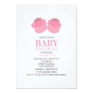 Pink Baby Moccasins Baby Shower Card
