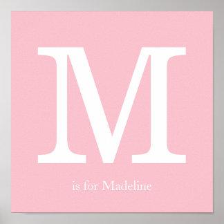 Pink Baby Nursery Monogram Poster